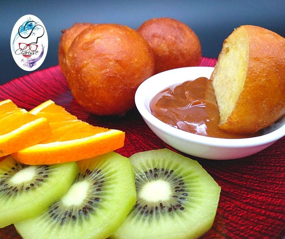 bignè, mamma, africa, colazione, frutta fresca, dulce de leche, frittelle, colazione dei campioni, merenda, merendina, primavera, arancia, kiwi,